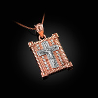 Two-Tone Rose And White Gold Diamond Boxed Cross Pendant Necklace