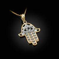 Diamond Studded Yellow Gold Hamsa Evil Eye Pendant Necklace