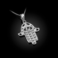 White Gold Hamsa Evil Eye Clear Iced CZ Pendant Necklace