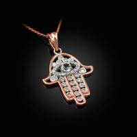 Rose Gold Hamsa Evil Eye Clear Iced CZ Pendant Necklace