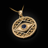 Yellow Gold Filigree Evil Eye Blue CZ Medallion Pendant Necklace