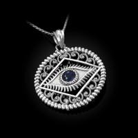 White Gold Filigree Evil Eye Blue CZ Medallion Pendant Necklace
