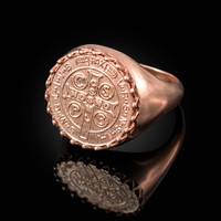 Solid Rose Gold Saint Benedict Medal Mens Ring
