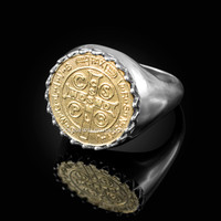 Solid Two-Tone White Gold Saint Benedict Yellow Medal Mens Ring