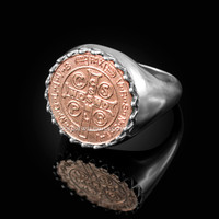 Solid Two-Tone White Gold Saint Benedict Rose Gold Medal Mens Ring