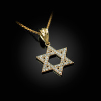 Yellow Gold Jewish Star Of David CZ Charm Necklace