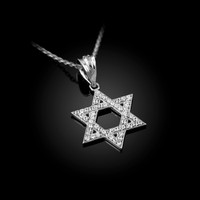 White Gold Jewish Star Of David CZ Charm Necklace