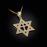 Yellow Gold Judaeo-Christian Iced CZ Star Of David Cross Pendant Necklace