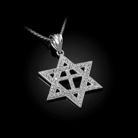 White Gold Judaeo-Christian Iced CZ Star Of David Cross Pendant Necklace