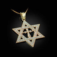 Yellow Gold Judaeo-Christian Iced CZ Star Of David Cross Unisex Pendant Necklace