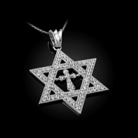White Gold Judaeo-Christian Iced CZ Star Of David Cross Unisex Pendant Necklace