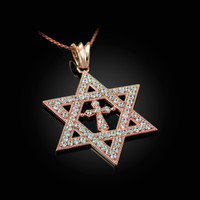 Rose Gold Judaeo-Christian Iced CZ Star Of David Cross Unisex Pendant Necklace