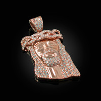 Rose Gold Iced-Out CZ Jesus Head Pendant Necklace