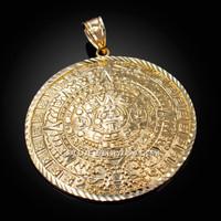 Yellow Gold Aztec Mayan Sun Calendar Extra Large Pendant (XL/XXL)
