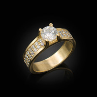 Yellow Gold CZ Solitaire Pave Engagement Ring