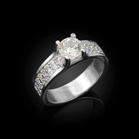 White Gold CZ Solitaire Pave Engagement Ring