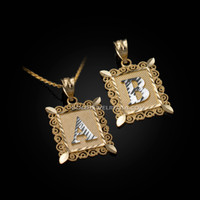 Gold Alphabet DC Letter Initial Filigree Pendant Necklace