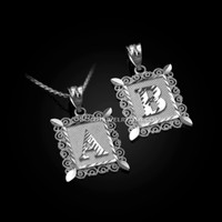 White Gold Alphabet DC Letter Initial Filigree Pendant Necklace