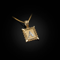 Gold Alphabet DC Letter Initial Filigree Charm Necklace