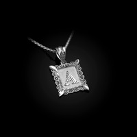 White Gold Alphabet DC Letter Initial Filigree Charm Necklace