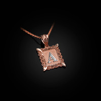 Rose Gold Alphabet DC Letter Initial Filigree Charm Necklace