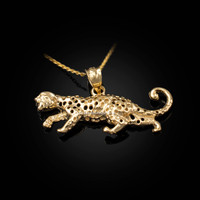 Yellow Gold Cheetah Cat Pendant Necklace
