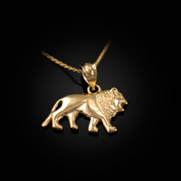 Yellow Gold Tiny Lion Charm Necklace