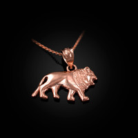 Rose Gold Tiny Lion Charm Necklace