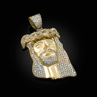 Yellow Gold CZ Iced-Out Jesus Face Medium Pendant