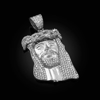 White Gold CZ Iced-Out Jesus Face Medium Pendant