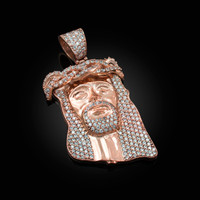 Rose Gold CZ Iced-Out Jesus Face Medium Pendant