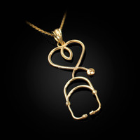 Yellow Gold Stethoscope Heart Pendant Necklace