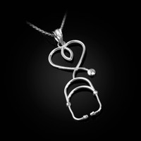 White Gold Stethoscope Heart Pendant Necklace