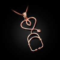 Rose Gold Stethoscope Heart Pendant Necklace