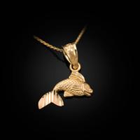 Yellow Gold Tiny Goldfish Charm Necklace