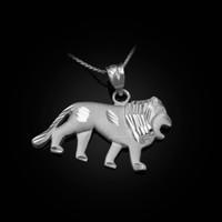 White Matte Gold Lion DC Pendant Necklace