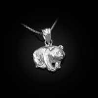 White Gold Tiny Grizzly Bear DC Charm Necklace