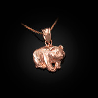 Rose Gold Tiny Grizzly Bear DC Charm Necklace