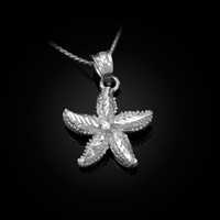 Solid White Gold Starfish DC Pendant Necklace