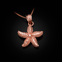 Solid Rose Gold Starfish DC Pendant Necklace