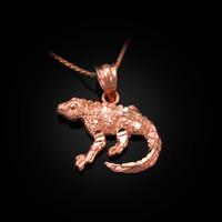 Rose Gold Salamander Lizard DC Pendant Necklace