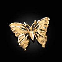 Solid Yellow Gold Butterfly DC Pendant Necklace