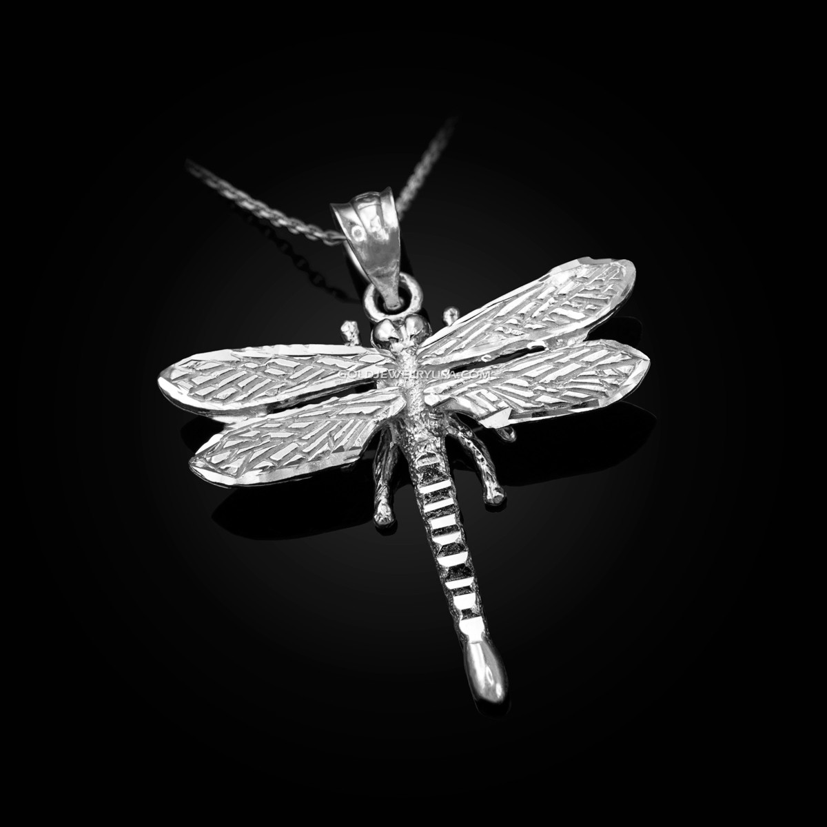 e251fd326 Solid White Gold Dragonfly DC Pendant Necklace