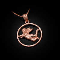 Rose Gold Flying Angel Round DC Pendant Necklace