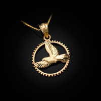 Yellow Gold Dove of Peace Round DC Pendant Necklace