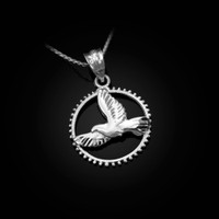 White Gold Dove of Peace Round DC Pendant Necklace