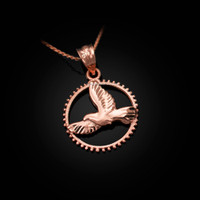 Rose Gold Dove of Peace Round DC Pendant Necklace