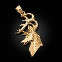 Yellow Gold Deer Buck Head DC Pendant