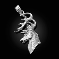 White Gold Deer Buck Head DC Pendant