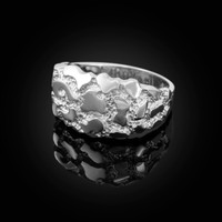 Polished White Gold Mens Nugget Ring